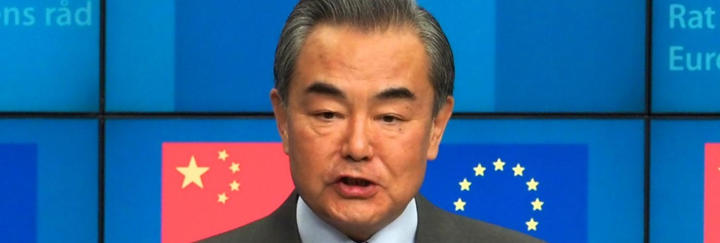 Chinese Foreign Minister Wang Yi is giving a speech at the EU-China Strategic Dialogue in Brussels in March 2019
