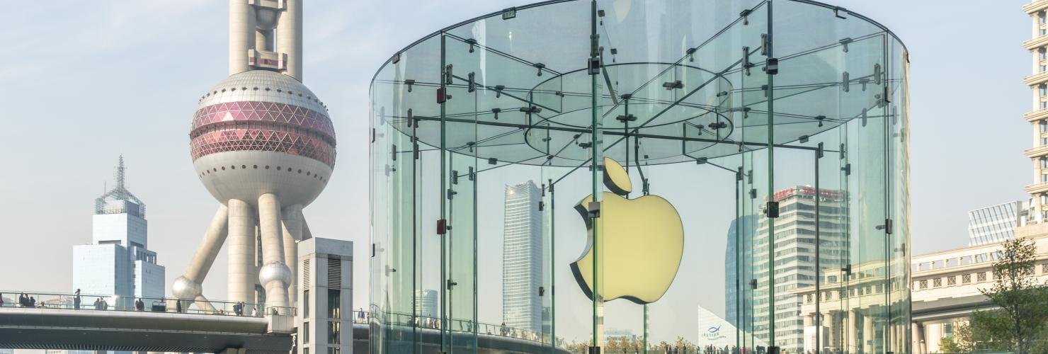 The Apple Store in front of the Oriental Pearl TV Tower in the Lujiazui Financial District, Shanghai.