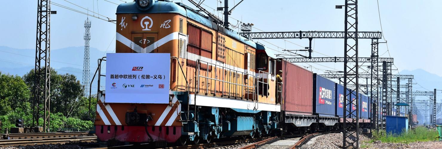 The first direct freight train running from Britain to China arrives at Yiwu West Station in Yiwu city, east China's Zhejiang province, 29 April 2017.