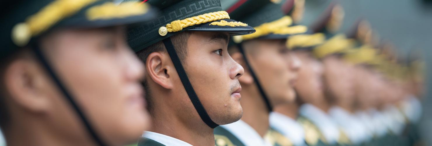 Chinese soldiers assemble in Macau to celebrate the 92nd anniversary of the founding of the PLA.