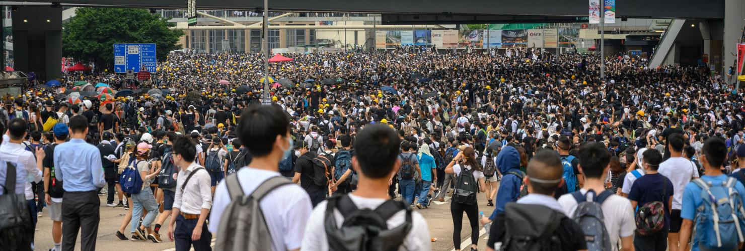 June 12, 2019: Anti-Extradition Bill Protest in Hong Kong. Protestors are surrounding HK Legislative Council building.