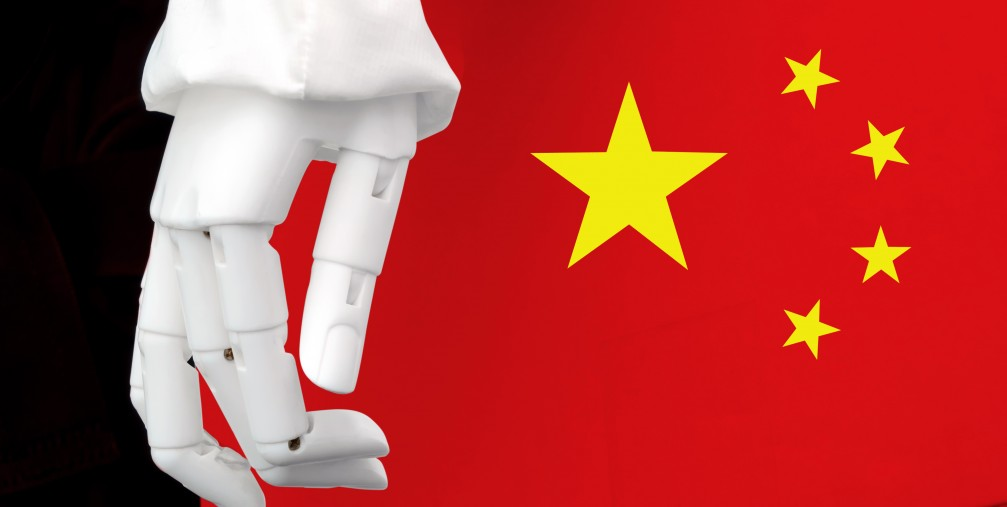 Robotic hand and Chinese flag