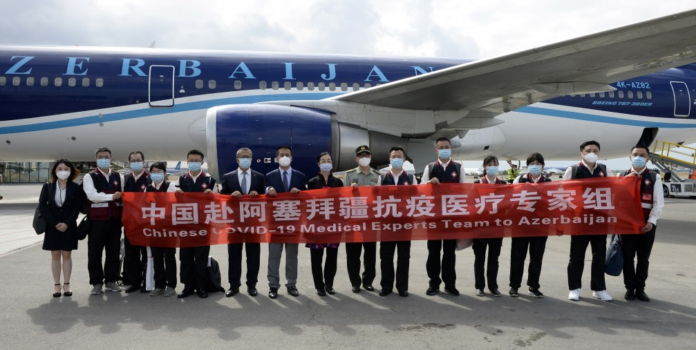 Chinese medical experts arrive in Baku, Azerbaijan, on Aug. 4, 2020.
