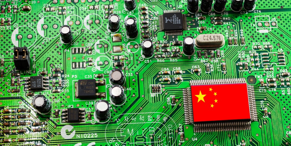 Microchip and chinese flag