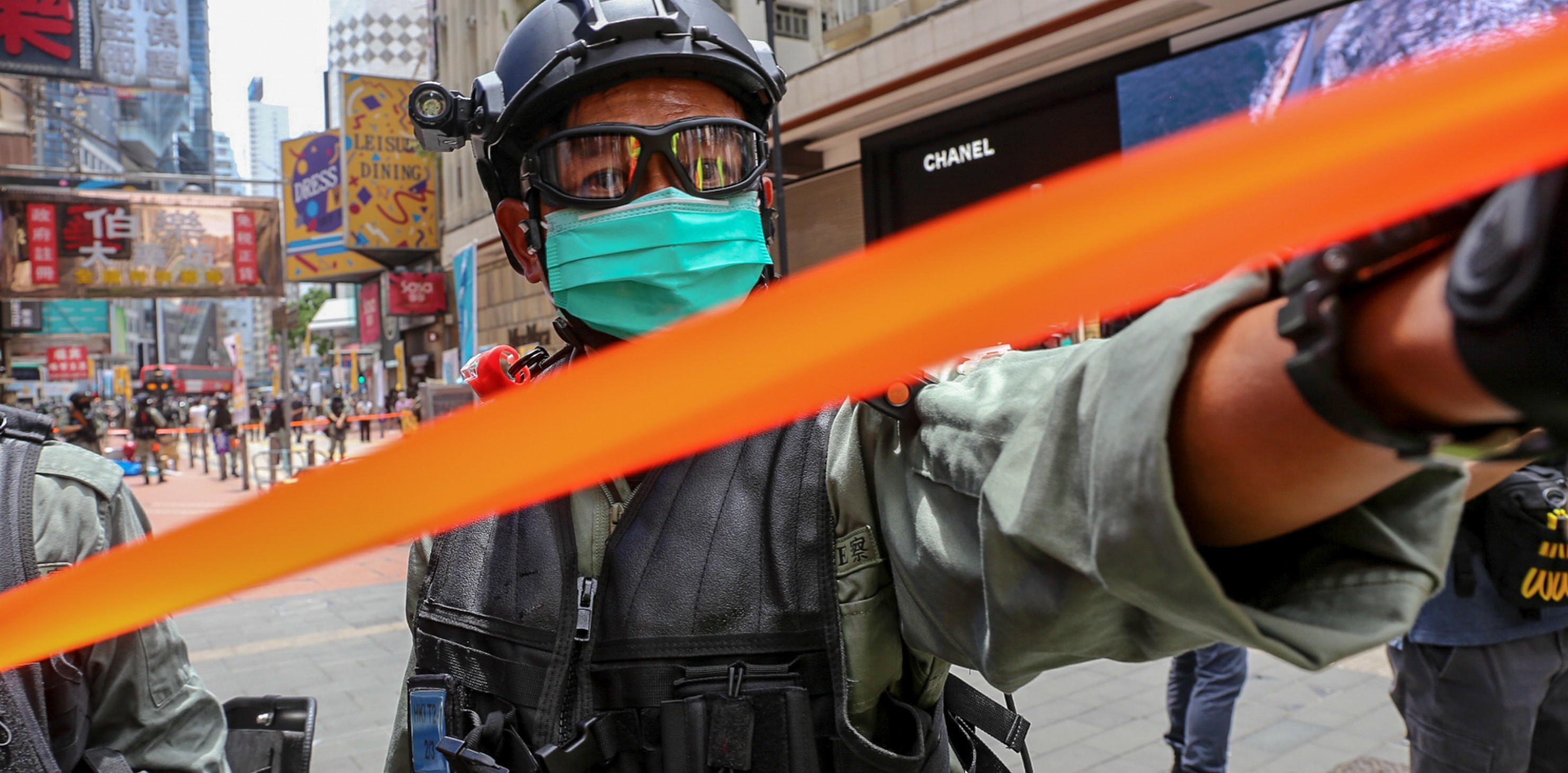 Policy Cordon off area with orange tape in Hong Kong