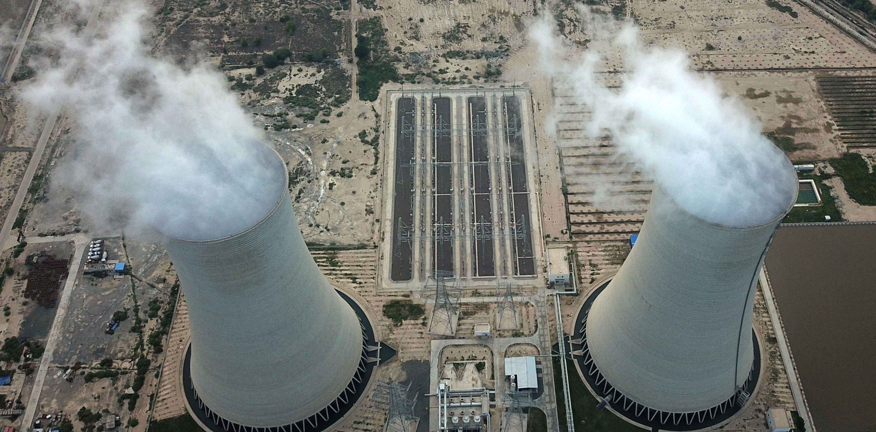 Two cooling towers of the Sahiwal Coal Power plant