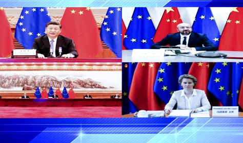 President of the European Council Charles Michel and President of the European Commission Ursula von der Leyen meet Chinese President Xi Jinping via video link on 22 June 2020.