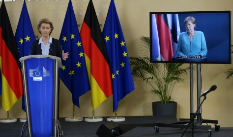 EU Commission President Von der Leyen and Council President Merkel address the press on 2 July 2020