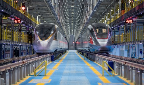 The CR400AF-G train made a debut in Beijing, China, 15 January 2021. It is a high-speed bullet train, can not only reach speeds up to 350 kilometers per hour (217 miles per hour), but it can also withstand temperatures reaching as low as -40 degrees Celsius
