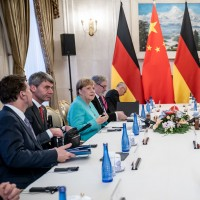 German chancellor Angela Merkel meets with China's party and state leader Xi Jinping