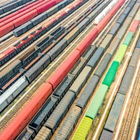 Aerial view of colorful freight trains in North China