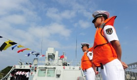 Chinese sailors during an open day event held by the South China Sea Fleet of the PLA Navy at a naval base in Sanya city, Hainan province.
