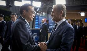 China's Premier Li Keqiang and European Council President Donald Tusk at the EU-China Summit 2017