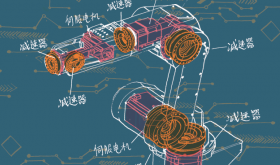 Illustration of a robot with Chinese characters
