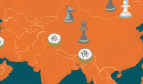 Illustration of a map and chess pieces