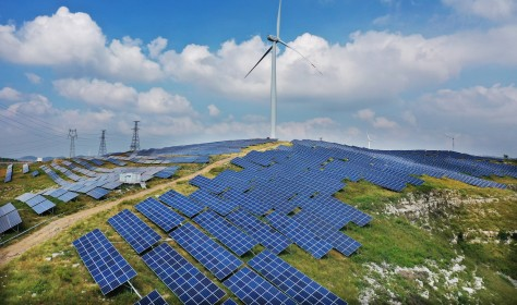 Rural wind solar hybrid power generation project. Zaozhuang City, Shandong Province, China, September 12, 2020.