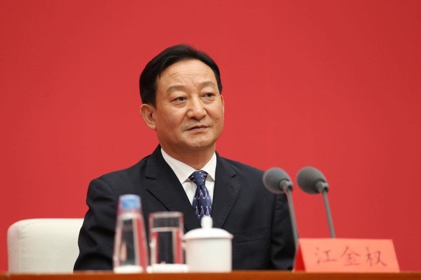 Jiang Jinquan, deputy director of the Policy Research Office of the CCP Central Committee, attends a press conference.