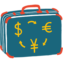Illustration of a suitcase with Yuan, Dollar and Euro characters